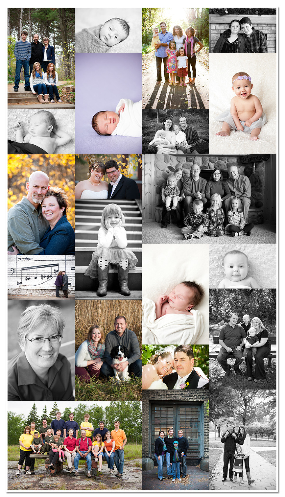 A collage of family portraits, newborn photos, head shots, wedding photos, and kids from 2012.